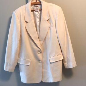 Vintage cream merino wool lined plus size blazer